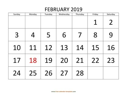 february 2019 calendar bigfont horizontal