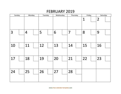 february 2019 calendar checkboxes horizontal