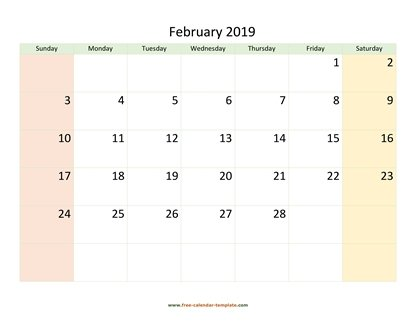 february 2019 calendar colored horizontal