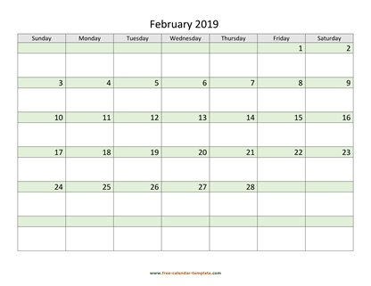 february 2019 calendar daycolored horizontal