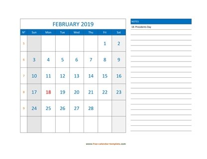 february 2019 calendar largenotes horizontal
