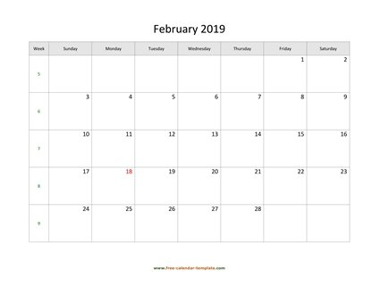 february 2019 calendar simple horizontal