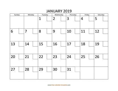 january 2019 calendar checkboxes horizontal