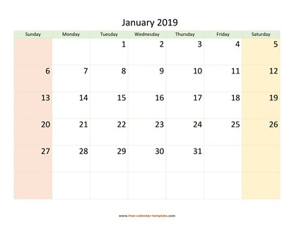 january 2019 calendar colored horizontal