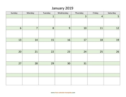 january 2019 calendar daycolored horizontal