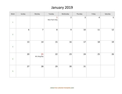 january 2019 calendar holidays horizontal