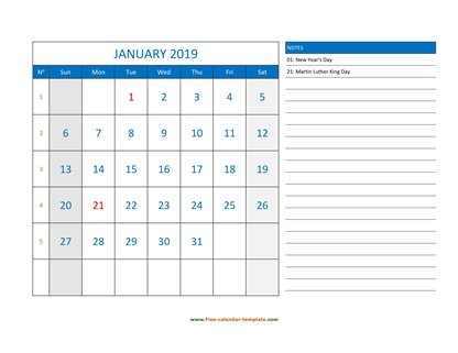 january 2019 calendar largenotes horizontal