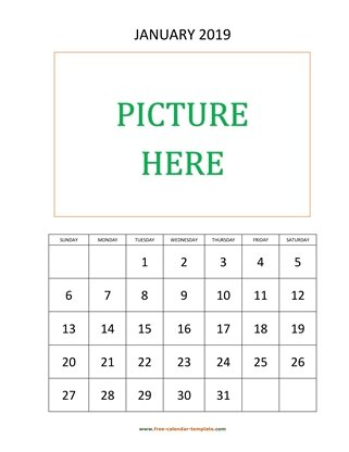 january 2019 calendar picture vertical