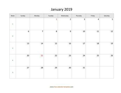 january 2019 calendar simple horizontal