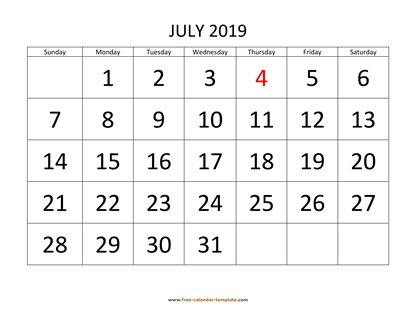 july 2019 calendar bigfont horizontal