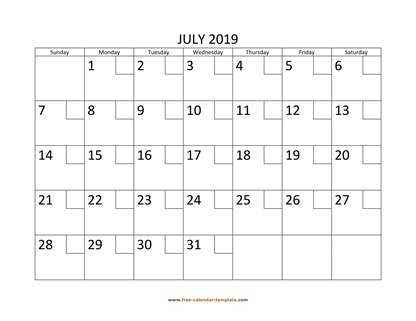july 2019 calendar checkboxes horizontal