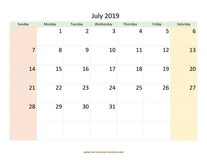 july 2019 calendar colored horizontal
