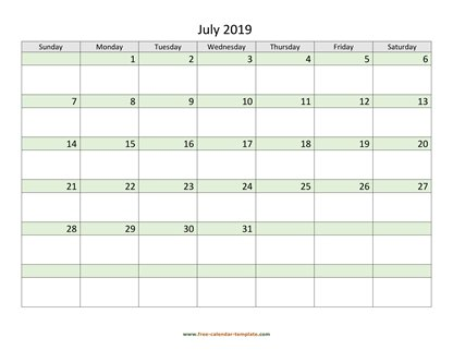 july 2019 calendar daycolored horizontal