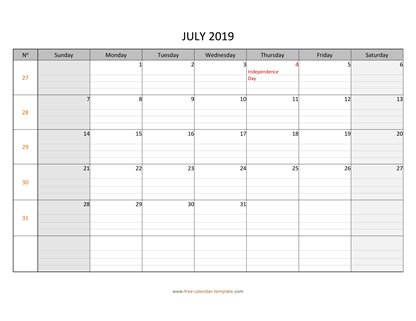 july 2019 calendar daygrid horizontal
