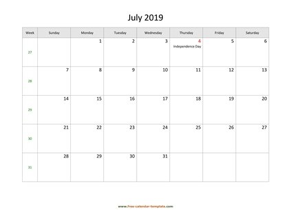 july 2019 calendar holidays horizontal
