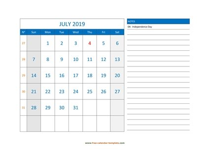 july 2019 calendar largenotes horizontal