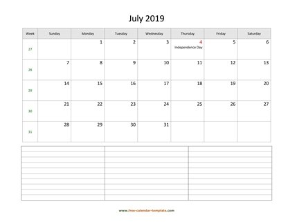 july 2019 calendar notes horizontal