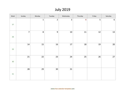 july 2019 calendar simple horizontal