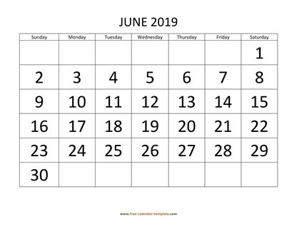 june 2019 calendar bigfont horizontal