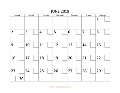 june 2019 calendar checkboxes horizontal
