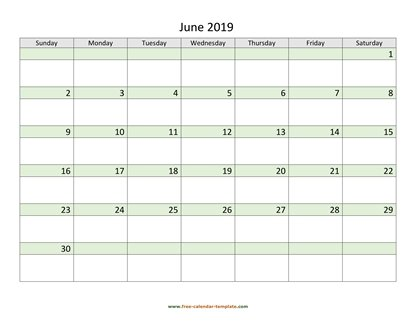 june 2019 calendar daycolored horizontal