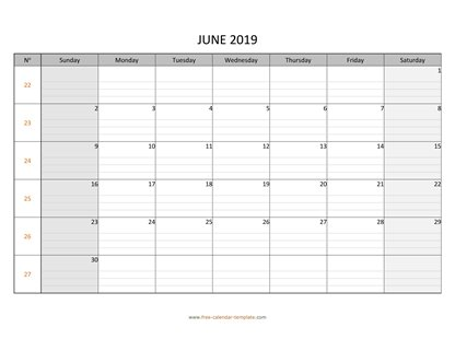 june 2019 calendar daygrid horizontal