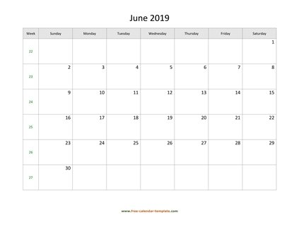 june 2019 calendar holidays horizontal