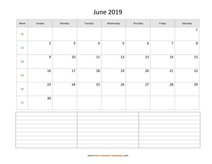 june 2019 calendar notes horizontal