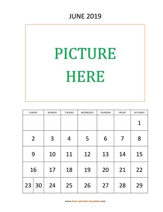 june 2019 calendar picture vertical