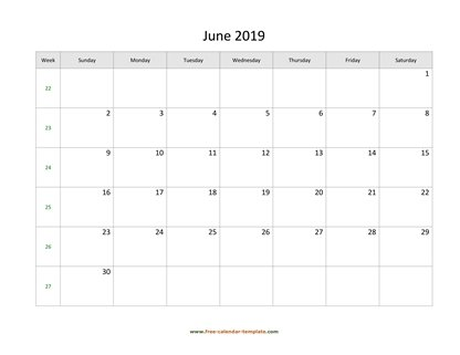 june 2019 calendar simple horizontal