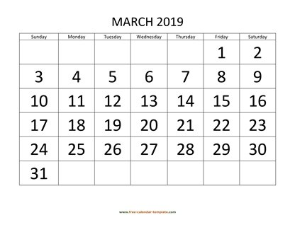march 2019 calendar bigfont horizontal