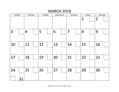 march 2019 calendar checkboxes horizontal