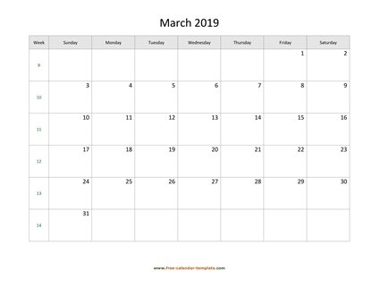 march 2019 calendar holidays horizontal
