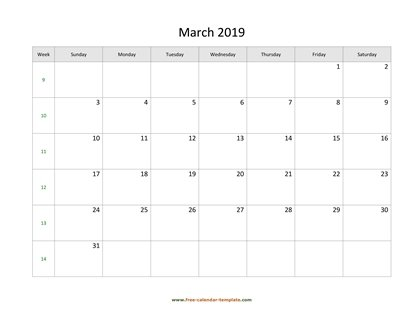 march 2019 calendar simple horizontal