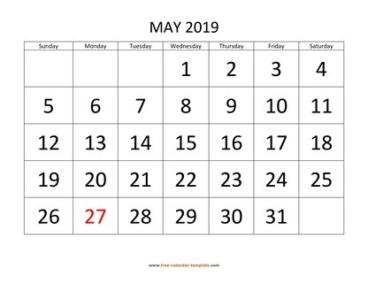 may 2019 calendar bigfont horizontal