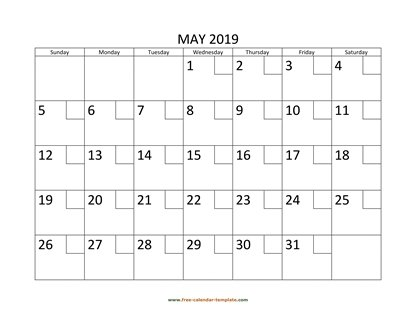 may 2019 calendar checkboxes horizontal