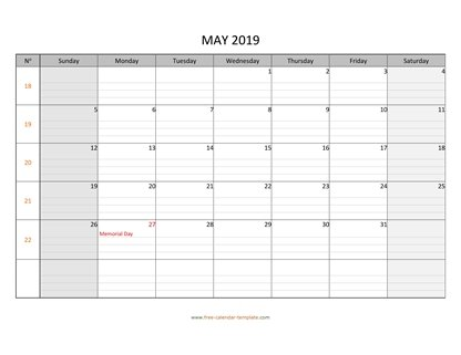 may 2019 calendar daygrid horizontal