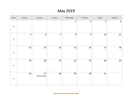 may 2019 calendar holidays horizontal