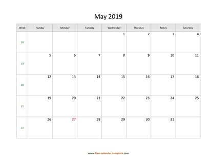 may 2019 calendar simple horizontal