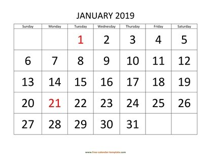 monthly 2019 calendar designed with large font horizontal