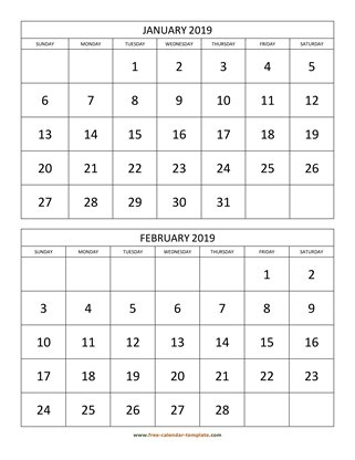 monthly 2019 calendar two months vertical