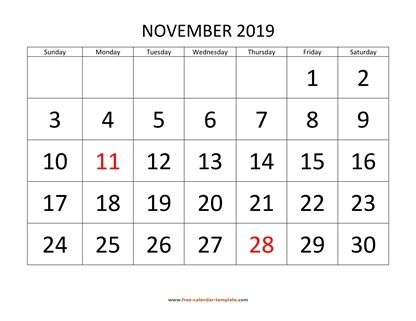 photograph relating to Free Printable Nov Calendar referred to as November 2019 Totally free Calendar Tempplate Cost-free-calendar
