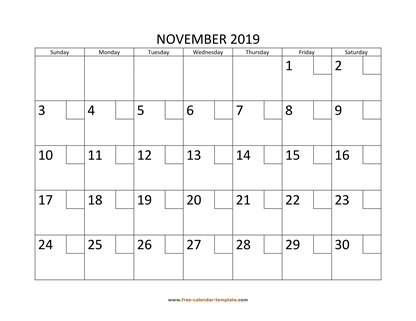 november 2019 calendar checkboxes horizontal