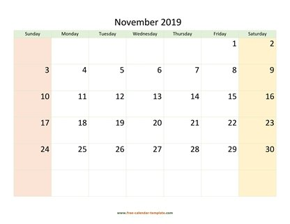 november 2019 calendar colored horizontal