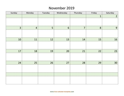 november 2019 calendar daycolored horizontal