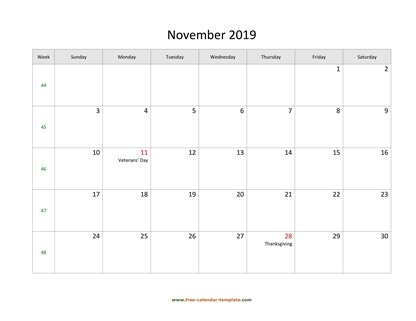 november 2019 calendar holidays horizontal