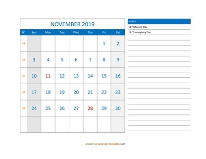 november 2019 calendar largenotes horizontal