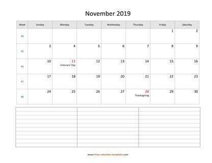 november 2019 calendar notes horizontal