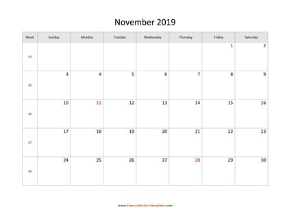 november 2019 calendar simple horizontal