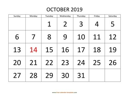 october 2019 calendar bigfont horizontal